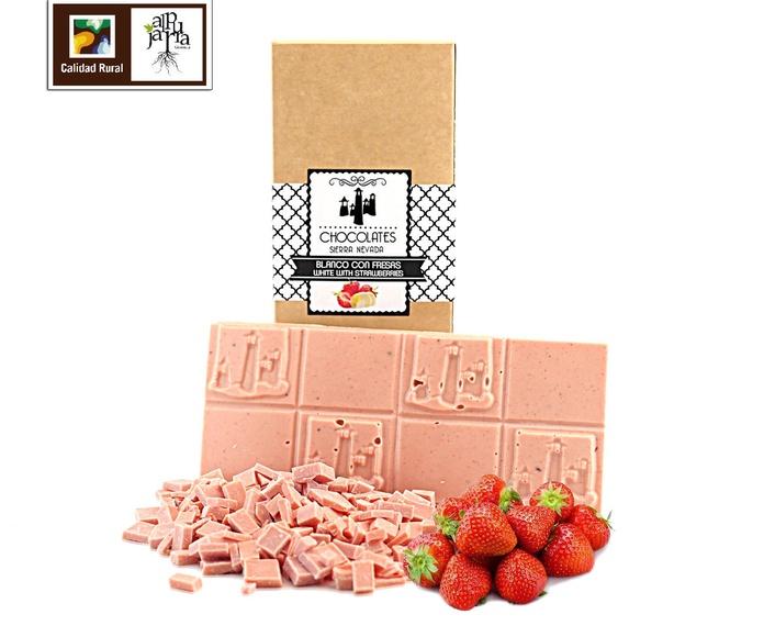 Tableta artesana de chocolate blanco con fresas: Nuestros productos de Chocolates Sierra Nevada