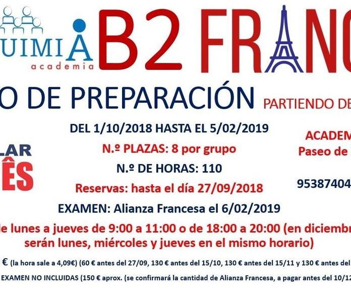 B2 FRANCÉS. partiendo de nivel bajo. Examen Alianza Francesa 6/02/2019: NUESTRA OFERTA FORMATIVA de Alquimia