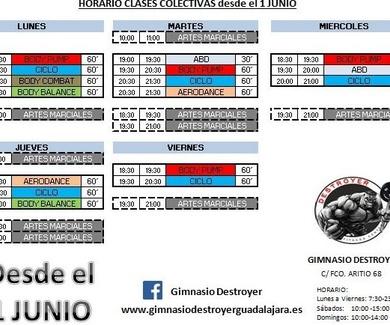 HORARIO CLASES COLECTIVAS DESDE 1 DE JUNIO