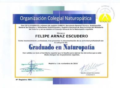 Titulado en Naturopatia