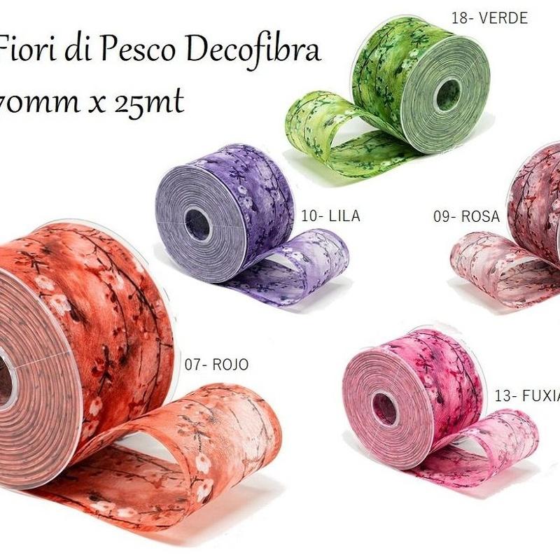 CINTA FIORI DI PESCO Decofibra (70mmx25mt)/ COLORES:.07-ROJO, 09-ROSA, 10-LILA, 13-FUXIA, 18-VERDE REF: 797+(COLOR) PRECIO: 5,10€/UD