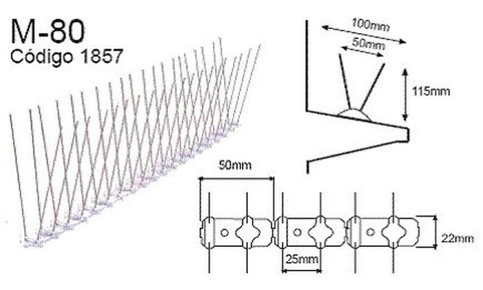 Pinchos control de aves Spiketrack M80