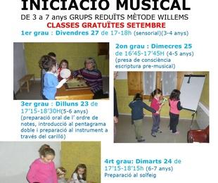 Classes gratuïtes d'iniciació i sensibilització musical a partir de 3 anys