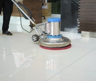 Polished marble floors