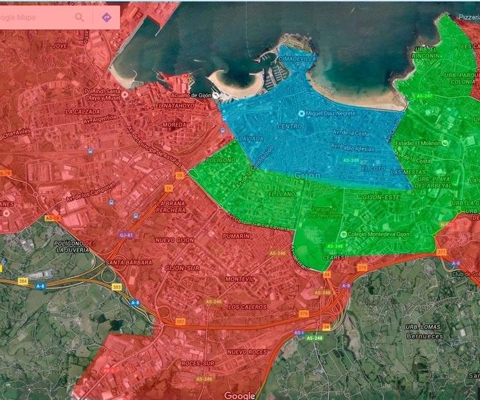Mapa de zonas de reparto