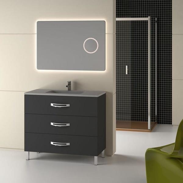 Mueble Garona gris metalizado de 100 con encimera Dubai y espejo Neo