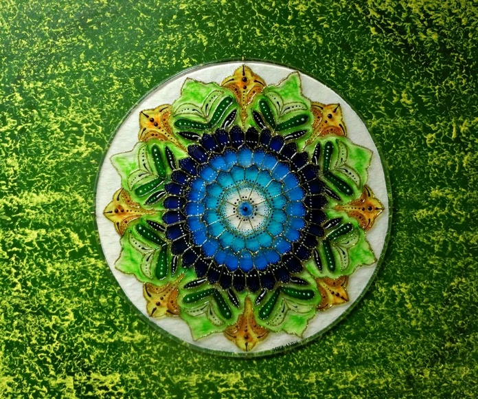 Mandala. Jardín de cura. tintas/cristal. 50x50cm. 175€+IVA