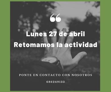 Retomamos la actividad el 27 de abril