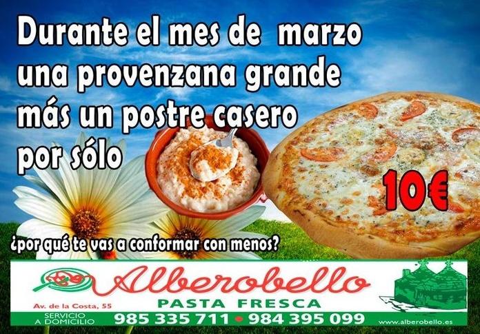 La oferta de marzo de 2017 de la pizzería alberobello
