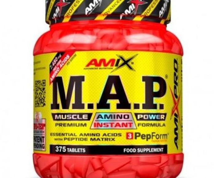 Amix® M.A.P.® Muscle Amino Power es un nuevo complemento alimenticio compuesto por una forma única de aminoácidos esenciales altamente purificados libres y cristalinos junto al complejo de péptidos PepForm™ Matrix.