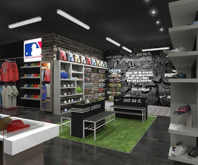 Diseño y reforma de tienda de deportes en l'Eixample, Barcelona.