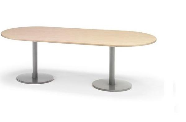 mesa ovalada de 240 cm. con pies metálicos color Haya/Aluminio