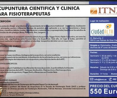 Acupuntura en Las Palmas, Curso de Acupuntura Clinica y Cientifica para Fisioterapeutas