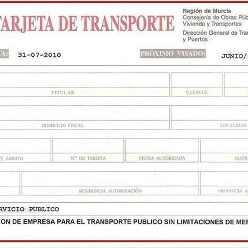 Tarjetas de transporte: Servicios de Gestoría Olmedo, S.L.P.