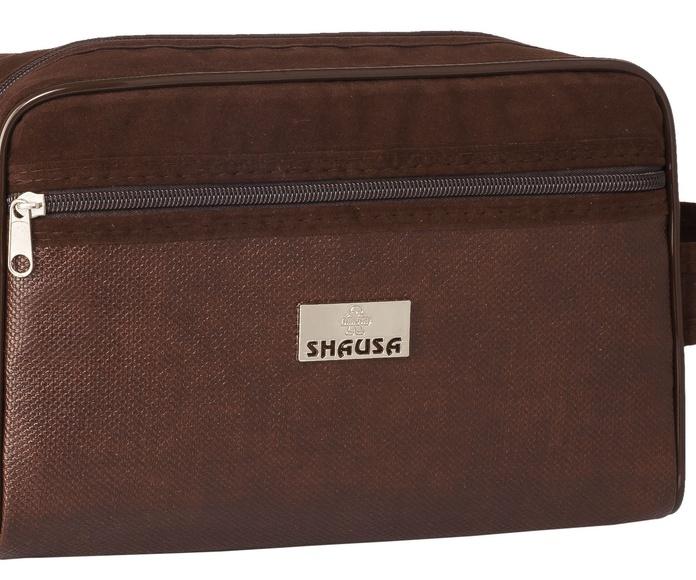 Bolsa de aseo caballero marrón con bolsillo