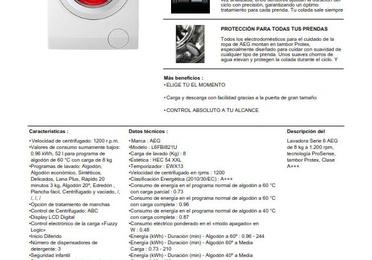 LAVADORA AEG L6FBI821U 8KG 1200RPM A+++