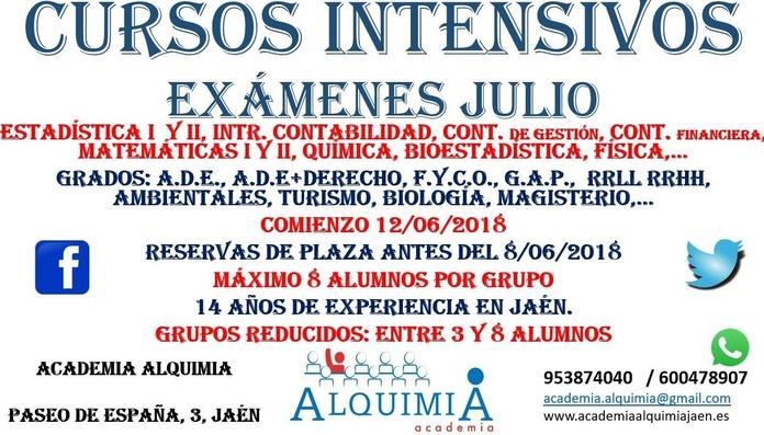 CURSOS INTENSIVOS UNIVERSITARIOS (JULIO): NUESTRA OFERTA FORMATIVA de Alquimia