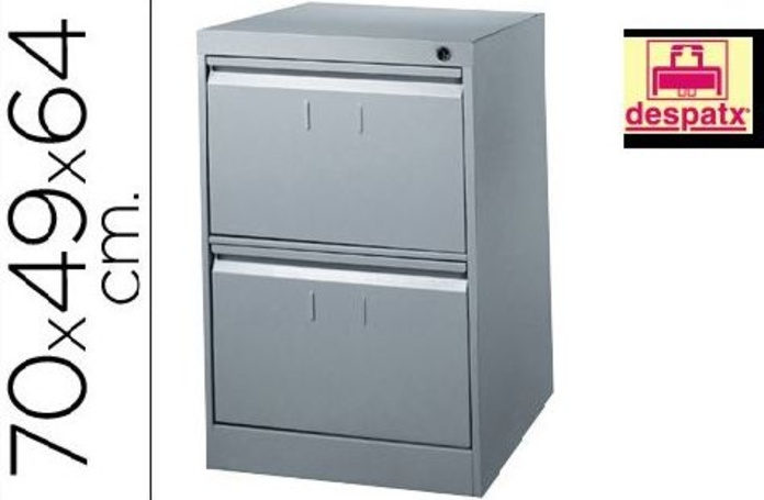 archivador metálico bisley de 2 cajones en color gris