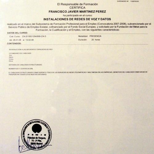 Certificado de instalaciones de Redes
