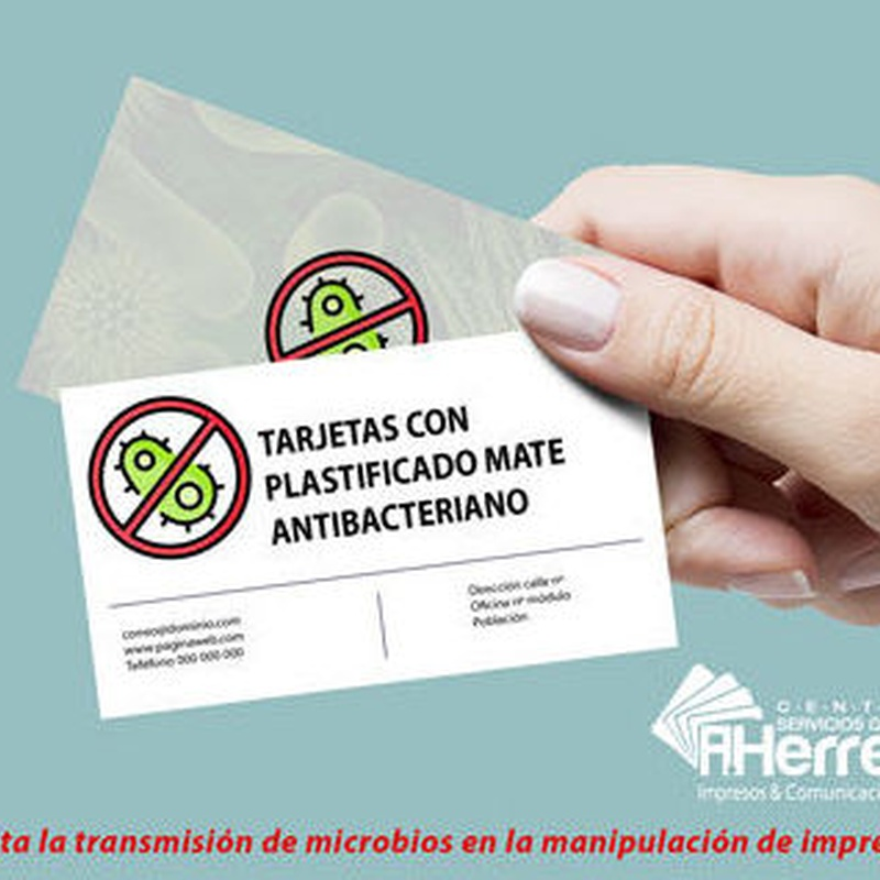 Tarjeta simple con plastificado mate antibacteriano