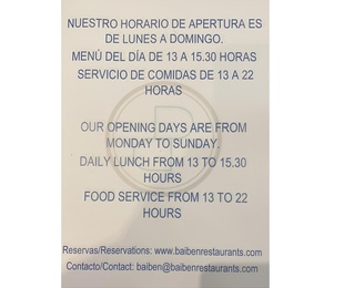 Our opening hours