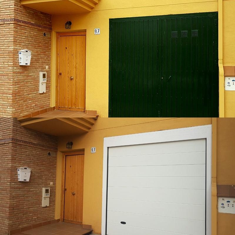 Puerta seccional panel blanco