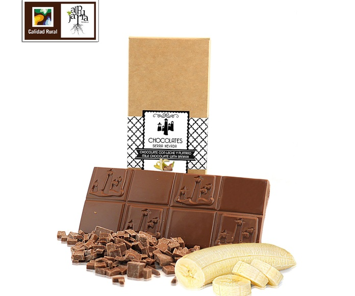 chocolate artesano con leche y plátano