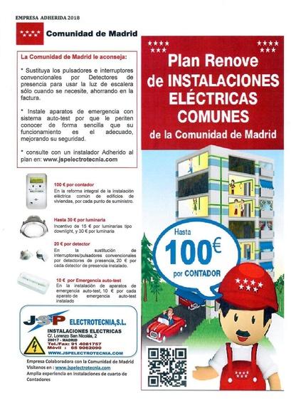 JSP ELECTROTECNIA S.L. empresa adherida al Plan Renove de Instalaciones Eléctricas Comunes.