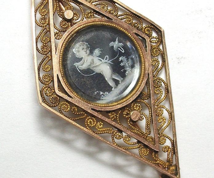 Broche de oro de 18k con tondo pintado en acuarela. S.XIX: Catálogo de Antigua Joyeros
