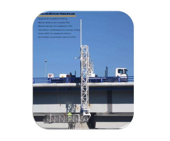Camión plataforma inspección de puentes trabajo en negativo bajo tablero,: Servicios de Trabajos Especiales ZUT