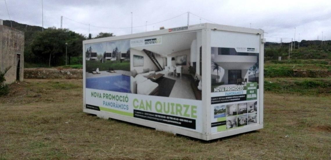 Vinilo publicitario en caseta de obras Mataró
