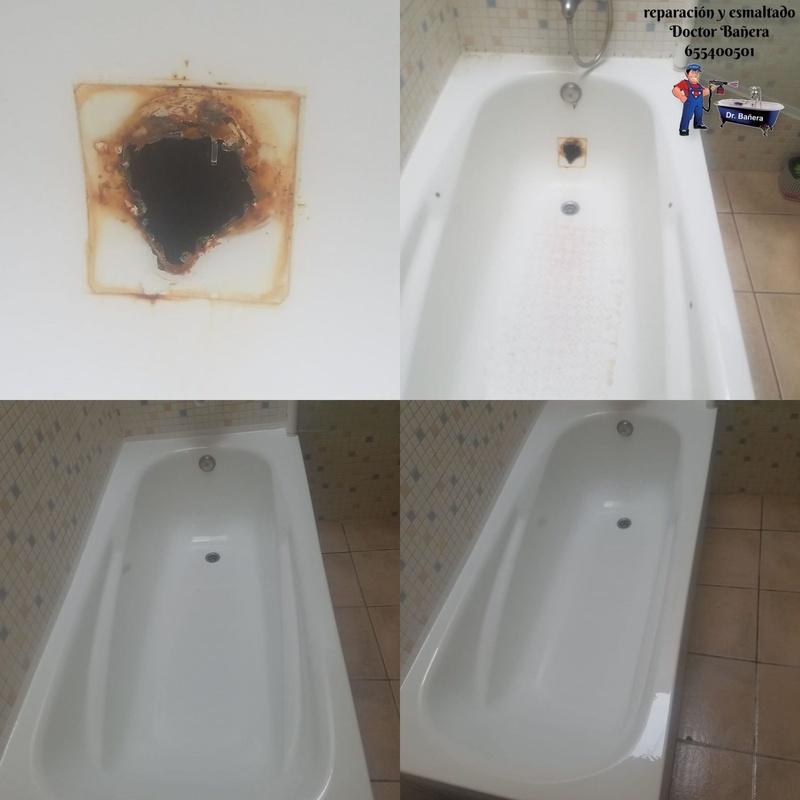 bañera con agujero en lateral