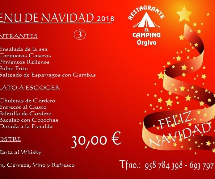 Menú de Navidad 2018  -  30,00 €: Carta de Restaurante El Camping Órgiva