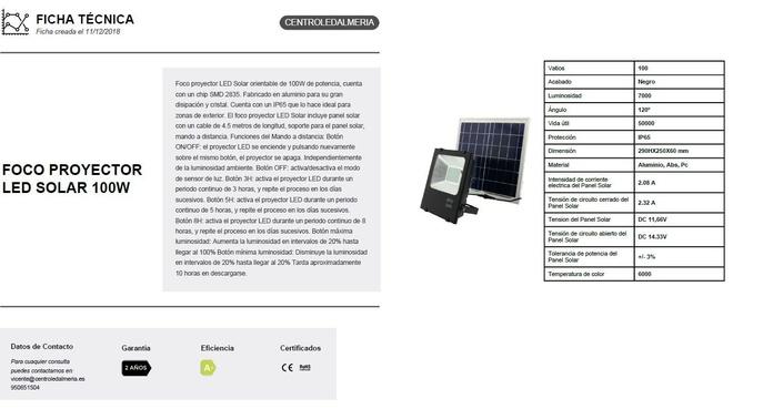 100w proyector led c/ placa solar: Productos de Centro Led Almería