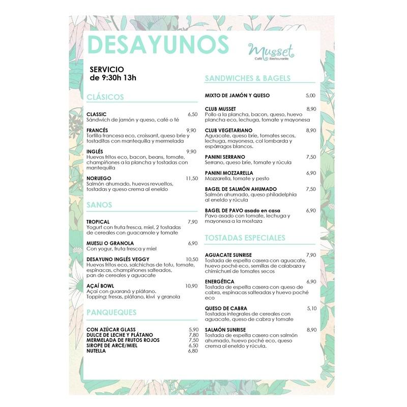 Carta desayuno Español: Carta de Musset Café