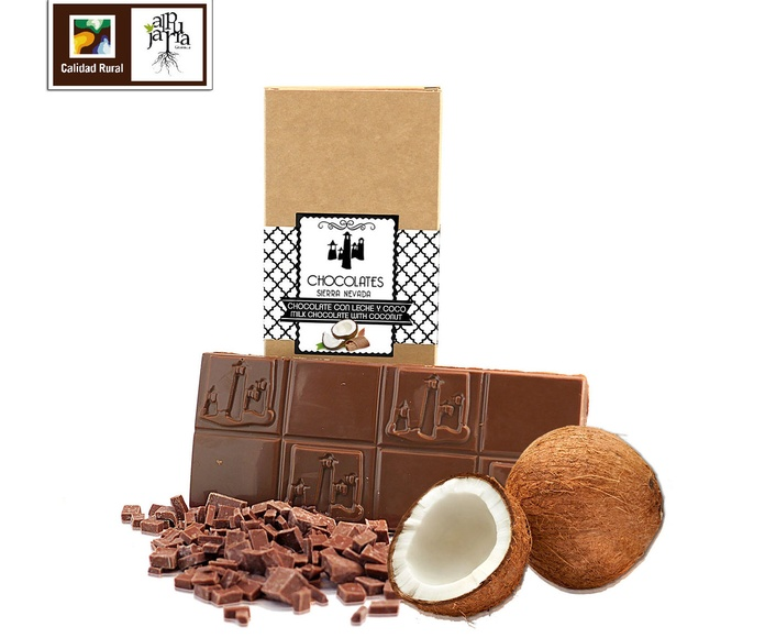 chocolate artesano con leche y coco