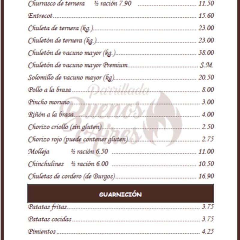 Carnes gallegas a la brasa - Parrillada Buenos Aires A Coruña