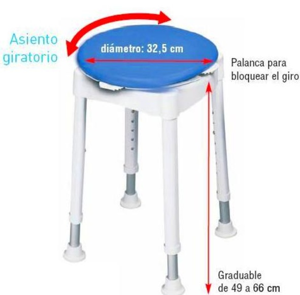 Taburete giratorio de ducha Asturias