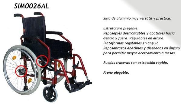 Silla de ruedas de aluminio con ruedas de apoyo