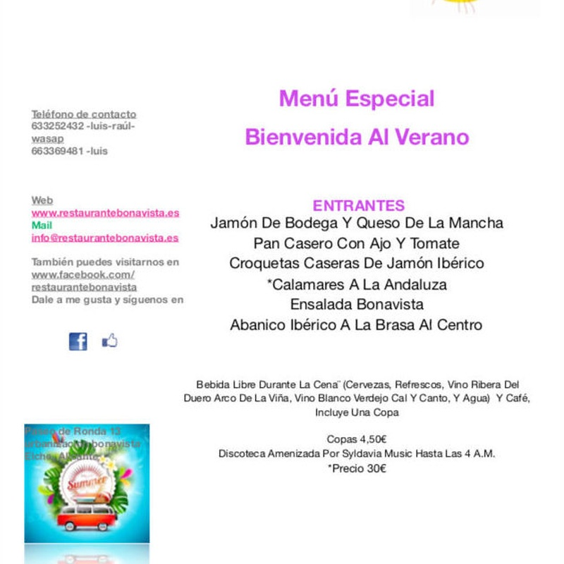 Menu cena-baile : Carta y Menús de Restaurante Bonavista