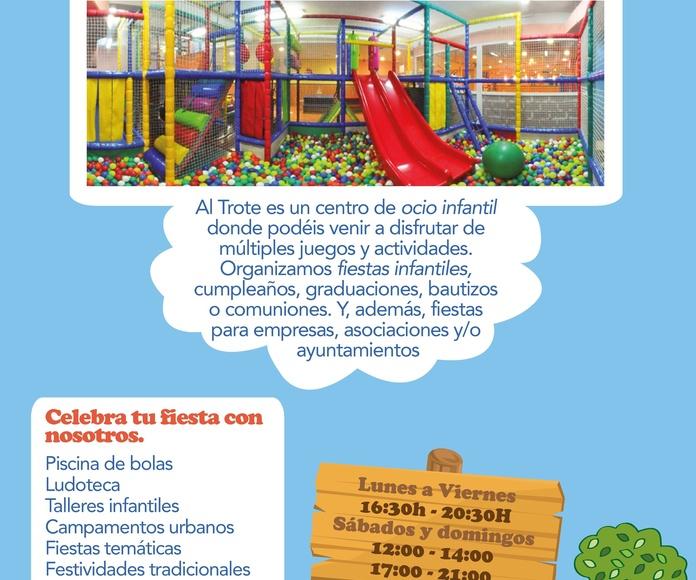 FIESTAS EN NUESTRO PROPIO LOCAL: NUESTROS SERVICIOS de AL TROTE ZONA INFANTIL, S.L.