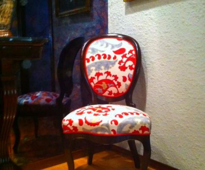 Trabajo de tapicería de una alumna  el curso pasado