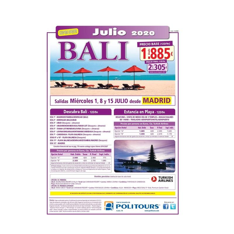Super oferta a Bali, julio 2020: Contrata tu viaje de Viajes Iberplaya