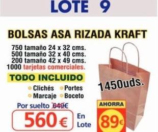 BOLSA ASA RIZADA KRAFT 1450 UNDS