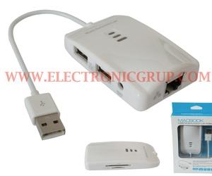 0837 - USB 2.0 a RJ45 + USB 2.0 + Tarjetas