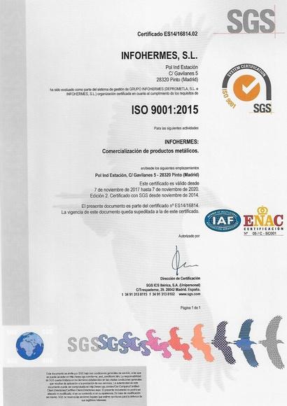 Certificado de Calidad ISO 9001:2015
