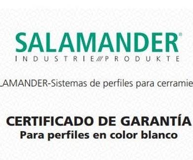 Certificado de garantía de ventanas de PVC Salamander en blanco y en color