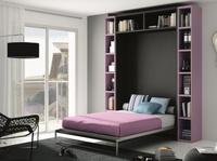 cama plegable de 135cm con estanterias en lila y ceniza.
