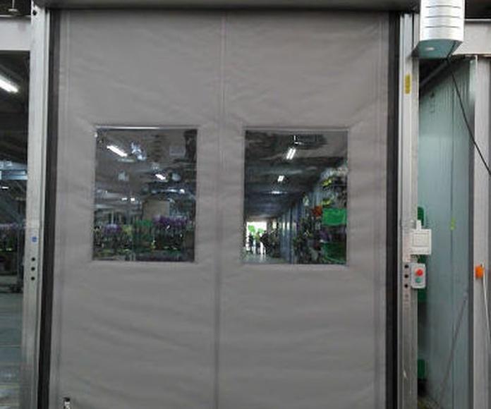 Puerta apertura rápida de lona pvc enrollable telón autorreparable