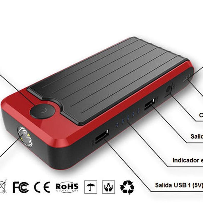 Arrancador baterías coche LAUNCH con cargador teléfono movil y tableta.